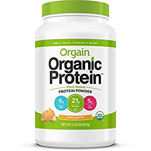 Orgain Organic Plant Based Protein Powder, Peanut Butter, Vegan, Non GMO, Gluten Free, 2.03 Pound, 1 Count, Packaging May Vary