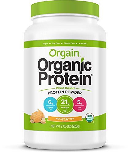 Orgain Organic Plant Based Protein Powder, Peanut Butter - Vegan, Low Net Carbs, Non Dairy, Gluten Free, Lactose Free, No Sugar Added, Soy Free, Kosher, Non-GMO, 2.03 ()
