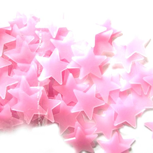 QZT 100Pcs/Pack Luminous Stars Wall Stickers Home Glow In The Dark Stars For Kids Fluorescent Stickers Decoration Red Small by QZT