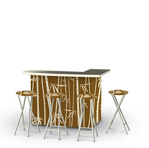 Best of Times Classic Bamboo Patio Bar & Tailgating Center Bar & Stools (Set of 4) Bamboo Tiki Bar Stools