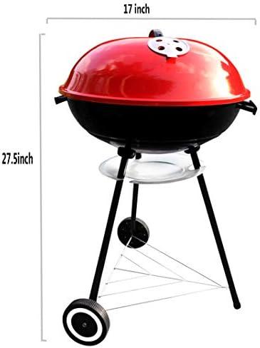 """YDYG Barbecue au Charbon Portable, 17 Pouces, Rouge et Noir, 17"""" x 17"""" x 27,5"""", pour 5-8 Personnes en Plein air de Pique-Nique Camping, avec 9 pcs Gratuit Outils Grill"""