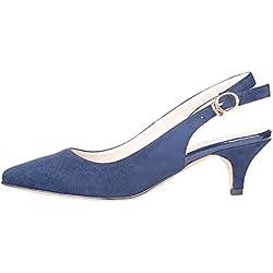 Verocara Women's Kitten Heel Pointed Toe Dress Shoes Cute Sandals Navy Suede 12.5 B(M) US