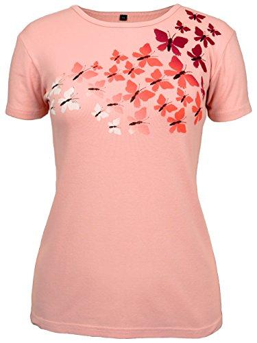 - Green 3 Women's Butterflies Print Tee Large Blush