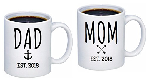 Baby Shower Coffee - Baby Announcement - Pregnancy Announcement for boy or girl - Coffee Mug Set 11oz - New Parents To Be - Mom Mug and Dad Mug Est. 2018 - Birth Announcement gift - Baby Shower Gift