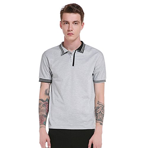 Honesy Mens Simple Striped Spell-Color Short Sleeve Polo T-Shirt Grey - Mill Ontario Stores