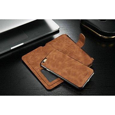 Fundas y estuches para teléfonos móviles, 2en1 nueva moda ranura cuero genuino multifunción tarjeta de bolsillo con cremallera cubierta trasera de la caja de cáscara para el iphone ( Color : Negro , M Marrón