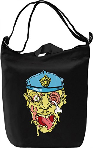 Zombie policeman Borsa Giornaliera Canvas Canvas Day Bag  100% Premium Cotton Canvas  DTG Printing 