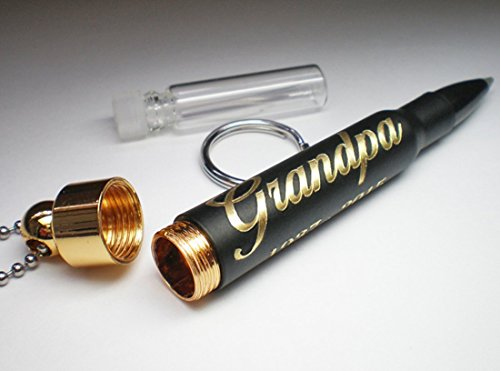 (30 06 Rifle Black Brass Bullet Engraved Personalized Cremation Urn Pendant and Key Chain keepsake)
