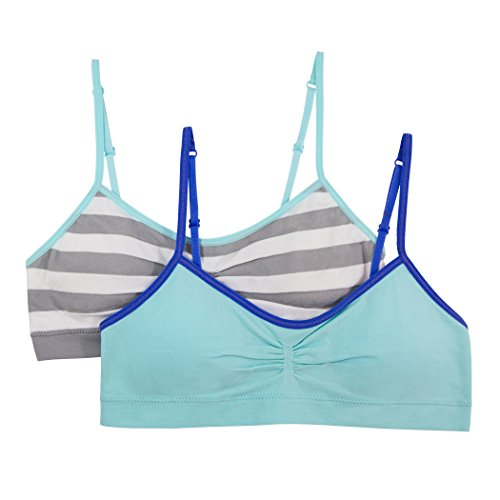 Price comparison product image Fruit of the Loom Big Girls' Seamless Crop With Cookies(Pack Of 2),  Medium Stripe / Soft Blue,  36