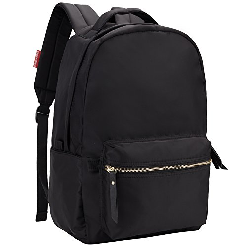 HawLander Black Nylon Backpack for Women School Bag for Girls Lightweight and Waterproof Fits 14 Inch Laptop Ash Ladies Full Zip