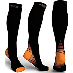Physix Gear Compression Socks for Men & Women 20-30 mmhg, Best Graduated Athletic Fit for Running Nurses Shin Splints Flight Travel & Maternity Pregnancy - Boost Stamina Circulation & Recovery ORG S/M