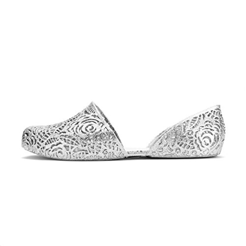 Chemistry® Y530 Womens New Stylish Easy Zig Zag Weaving Woven Bird Nest Mesh Cozy Candy Slip-on Jelly Loafer Ballet Sandal Flat (7 B(M) US, Silver)