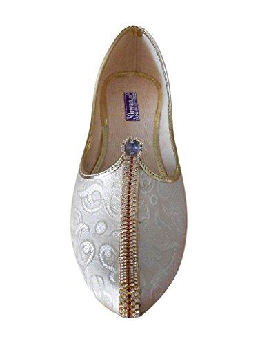 KALRA Creations Herren Traditionelle Handgemachte Seide indischen Hochzeit Schuhe Cremefarben