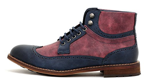 Hombre Casual Botines Estilo Motero Con Cordones Inteligentes Vestido De Fiesta zapatos número GB Azul marino/Rojo