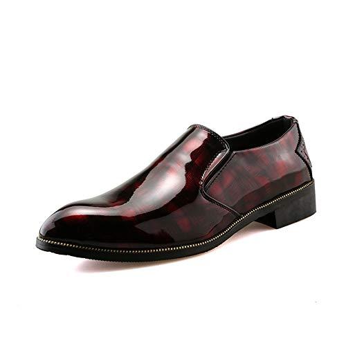 2018 Scarpe Stringate Basse Business Casual da uomo Oxford Fashion Personality Leggero e confortevole scarpe da lavoro in pelle verniciata a contrasto di colore ( Color : Nero , Dimensione : 41 EU ) Rosso