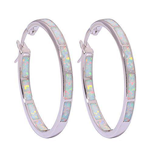 (CiNily White Opal Hoop Earrings,Women Jewelry Rhodium Plated Gemstone Big Hoop Earrings 32mm)
