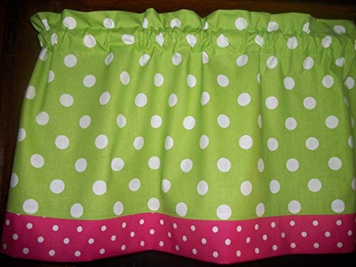 Lime Green Polka-Dot Pink White decor treatment window topper curtain 13