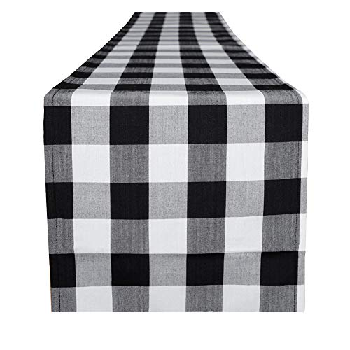 4TH Emotion Buffalo Check Plaid Table Runner for Indoor & Outdoor Parties, Family Dinner Party Events Polyester Cotton Black & White (14x72 Inch, Seats 4-6 People)]()