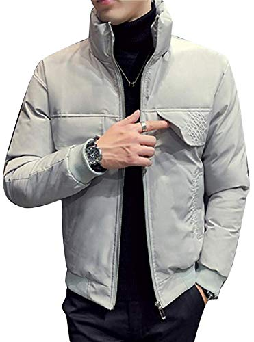 Zhdyhgsd Men's Warm Full-Zip Pocket Quilted Winter Casual Mandarin Collar Puffer Jacket,XX-Large,White