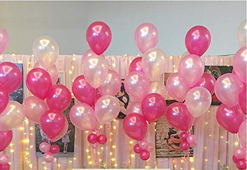 Hot Pink Latex Balloons - 72 Pcs/Lot 12'' Pearlized Latex Balloons Thickening Pink & White&Red Rose balloons 2.8G For Party Decoration