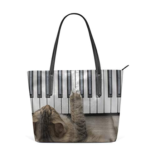 Laptop Tote Bag A Cute Cat Playing The Piano Large Printed Shoulder Bags Handbag Pu Leather Top Handle Satchel Purse Lightweight Work Tote Bag For Women Girls
