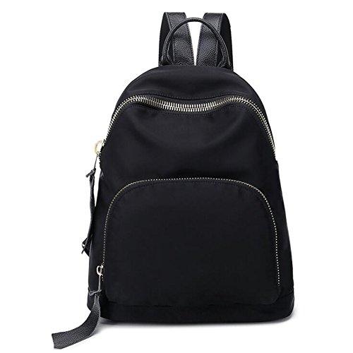 QIDI Mochila Impermeable Simple Ocio Viaje Nylon Tela Oxford 35 * 31 * 15 Cm (Color : Negro-2) Negro-1