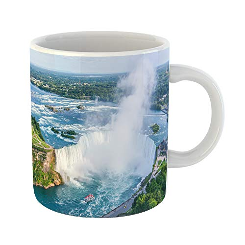 Emvency Coffee Tea Mug Gift 11 Ounces Funny Ceramic Blue Tourism Niagara Falls Aerial View Canadian Canada Mist Gifts For Family Friends Coworkers Boss Mug]()