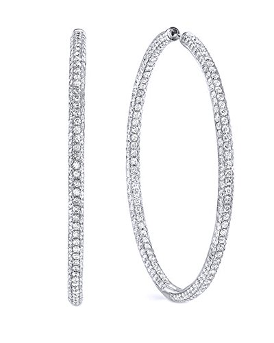 - Micro pave White Cubic Zirconia Three Row Large Hoop Earrings In 18K White Gold Over Sterling Silver