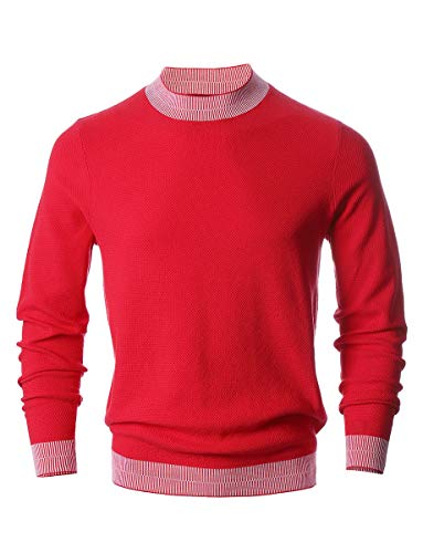 e4c1d20dc8 AFAIK Men s Crew Neck Pullover Cotton Knitted Long Sleeve Casual Sweater