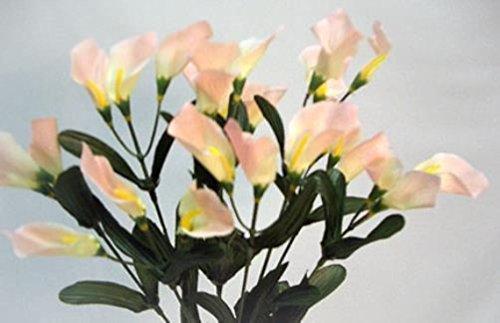 27 Calla Lilies Peach Silk Wedding Bouquet Centerpieces Artificial Flowers by Dorigan Artificial Art Flowers