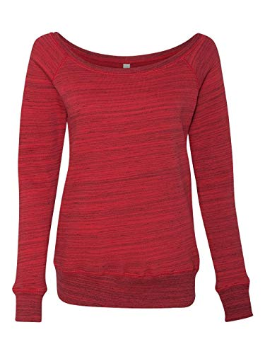 Bella Canvas Ladies' Sponge Fleece Wide Neck Sweatshirt - RED MARBLE FLC - L