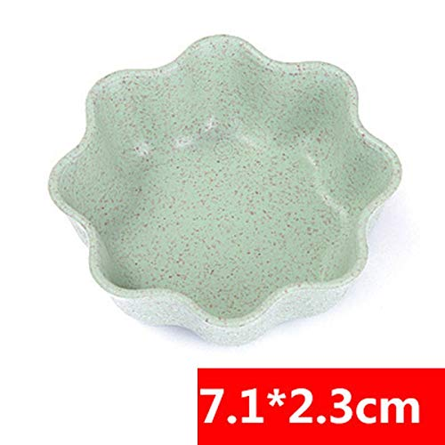 Baguio-Store - Sale 1PC New Round Leaf 4 Shaped Heart Relish Plate 4Colors Plastic Club Wheat Straw Kitchen Accessories