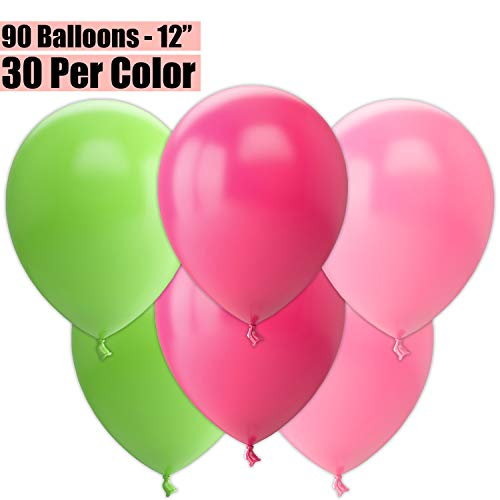 12 Inch Party Balloons, 90 Count - Lime Green + Fuchsia + Pink - 30 Per Color. Helium Quality Bulk Latex Balloons In 3 Assorted Colors - For Birthdays, Holidays, Celebrations, and More!!