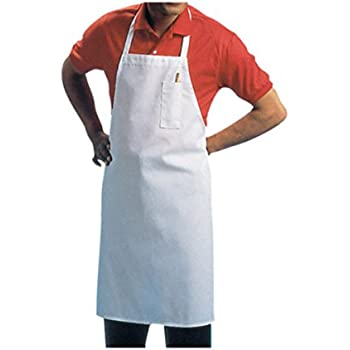 Chef Revival 600BAW Poly Cotton Economy Bib Apron with Pencil Pocket, 34 by 34-Inch, White