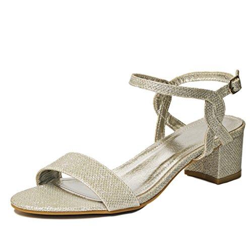 Rock en Estilos Mujer Brillante pedrería Oro Plata Tira en Tobillo Fiesta Media BAJA Tacón Zapatos de salón -k392 plata