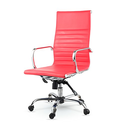 Winport Furniture WF-7911 Elegance High-Back Leather Swivel Office & Home Desk/Task Chair, Red