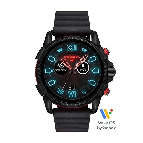 Diesel Men's Stainless Steel Touchscreen Watch with Silicone Band Strap, Black, 24 (Model: DZT2010)