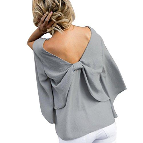 Mousseline Femmes de Blouse en V Bowknot Chemisier Cou Tops URSING Haut Shirt Soie vxqxgSZ