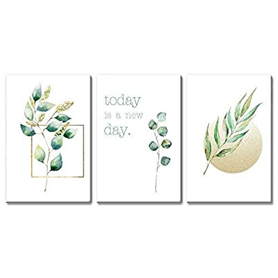 3 Panel Watercolor Style Leaves with Quotes x 3 Panels, Made With Love, Unbelievable Craft