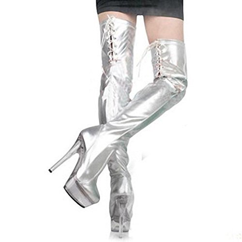 Kitzen Women Over Knee Boots Thigh High Boots 15cm High-Heeled Sexy Fashion Shiny Silver Straps Large Size Knight Boots Ladies Shoes Martin Boots Wedding Party Silver ZGEzAlVci