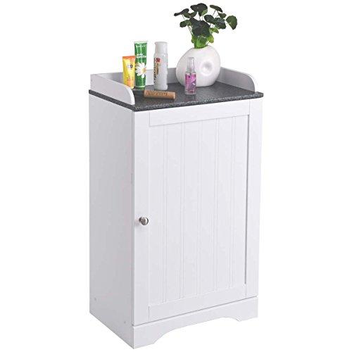 Tangkula Bathroom Floor Storage Cabinet Freestanding Adjustable Shelves Organizer with Single Door White Finish (Storage Cabinets With Doors)