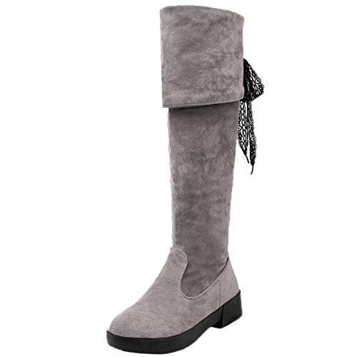 replient se cuisse d'équitation gris pour en daim genou le dentelle bottes bottes femmes hautes sur HooH A6vzvq
