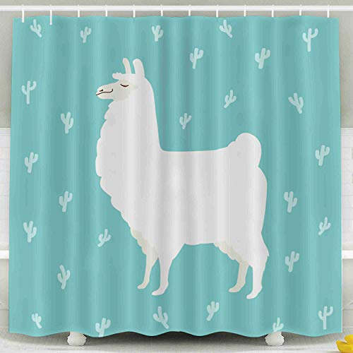 Shorping 78x72 Shower Curtain,Kids Shower Curtain, Cute Cartoon Lama Funny White Llama Cactuses Waterproof Decor Bathroom Set with Hooks