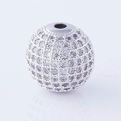 Color: Silver Calvas 14mm Four Colors Round Bead CZ Charm Women DIY Bead Jewelry Micro Pave CZ White Zircon Ball Bead Fit Bracelet /& Necklaces