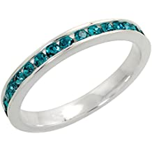 """Sterling Silver Stackable Eternity Band, December Birthstone, Blue Topaz Crystals, 1/8"""" (3 mm) wide"""
