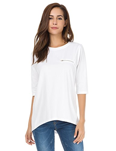 - nordicwinds Womens Half Sleeves Casual Cotton T-Shirt Loose Crew Neck Tops,White,Small