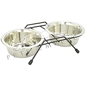 Pets Empire Stainless Steel Dog Cat Double Diner Pet Bowl, 2 Pet Dishes Package Set for Drinking or Eating Dog Bowl, 1 Piece (Medium)