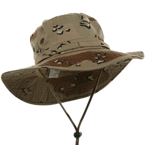 (MG Men's Washed Cotton Twill Chin Cord Hunting Hat (Desert Camo Brown, Medium))