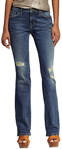 Distressed Flare Jeans (Mossimo Women's Mid-rise Skinny Bootcut Jeans (4/27 Short, Dark Denim Wash))