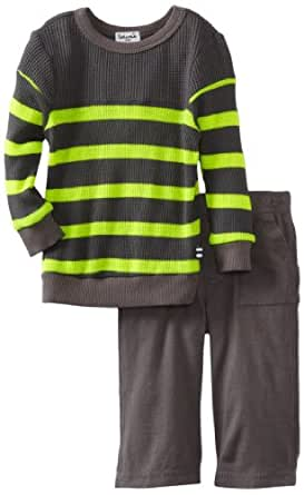 Splendid Littles Baby-boys Infant Thermal Sweatshirt Set, Carbon/Neon, 6-12 Months